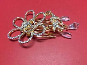 Elegant Rhinestone Golden Hair Comb Clip Metal Slide Pin