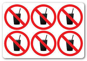 NO DRINKS / DRINKING, health and safety signs/stickers, warning, first aid 50x50