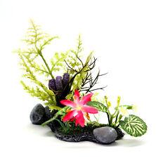 11cm Imitation Plants Rock Aquarium Ornament plastic Decor Flower Fish Tank Fern