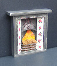1:12 Scale Resin Black Floral Fire Place Dolls House Miniature Fireplace 610