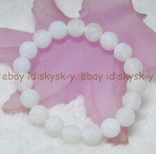 "10mm White Dream Fire Dragon Veins Agate Round Beads Bracelets 7.5"" Elastic"