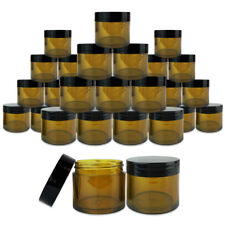 30 Jars - 1 oz High Quality Black Lid Amber Thick Wall Sample Container 30g/30ml