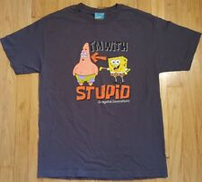 Vintage SPONGEBOB SQUAREPANTS shirt L gray Nickelodeon 2002 cartoon Patrick