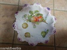 Antique German Hand Painted Porcelain Lg Apple Design Bowl