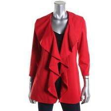 Calvin Klein 5739 Womens Red Ponte Ruffled Open-Front Blazer Jacket 10 BHFO