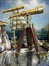 Impressive Brass Telescope Tripod Stand Double Barrel Spyglass Nautical Gift 21""