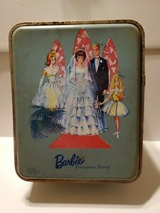 RARE~Vintage BARBIE TROUSSEAU TRUNK Metal 1964 Mattel Inc. - Very Good!
