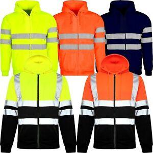 Hi Viz Vis Visibility Jacket Zipped Hoodie Work Hooded Fleece Lined Sweatshirt