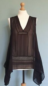 M & S Limited Edition Asymmetrical Sheer Black Sleeveless Top Size 14