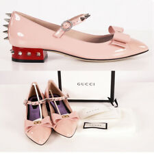 37.5 NEW $1250 GUCCI Pink Patent Leather SPIKED MARY JANE Pumps Low Heels FLATS
