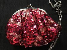 Avon -Red -Sequinned - Ruby Red =Evening Bag -Clutch /Chain Shoulder Strap-new