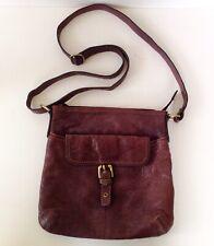 M&S Autograph Brown Leather Slime Line CrossBody Bag.