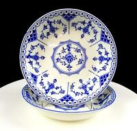 "RIDGWAY LAWLEY ENGLAND BLUE DANISH BLUE & WHITE 2PC 7 5/8"" COUPE SOUP BOWLS 1955"