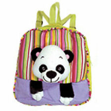 "Backpack 11"" Zipper Compartment Panda Head Plush Purple Green Stripes New"