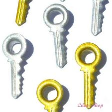 10 OEILLETS CLES CLEFS  ARGENT & OR EYELETS KEYS SILVER GOLD SCRAPBOOKING RARE