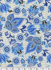 Blue and White Floral Flowers Quilt Fabric - 1 Yard