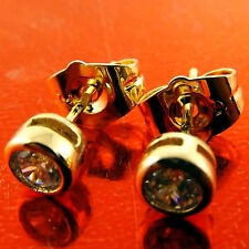 STUD EARRINGS REAL 18K YELLOW G/F GOLD DIAMOND SIMULATED UNISEX DESIGN FS3A619
