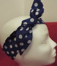 Bandana Diadema Headwrap Pelo Wrap Royal Blue & White Polkadots puntos Nuevo