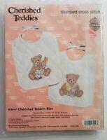 Vtg Janlynn Cherished Teddies Bibs Stamped Cross Stitch Kit 139-57 New