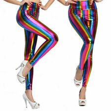 Girls Ladies Metallic Stripe Leggings Pride LGBT Stretch Fancy Dress Costume NEW