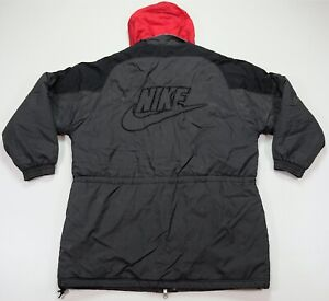 Rare VTG NIKE Spell Out Big Swoosh Quilt Lined Puffer Parka Trench Jacket 90s