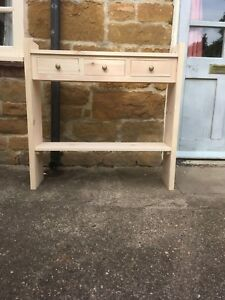 H90 W90 D22cm BESPOKE CONSOLE HALL TABLE 3 DRAWER 1 SHELF CHUNKY UNTREATED