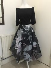 GORGEOUS COAST HI LOW MIDI FLORAL PRINT FIT AND FLARE EVENING DRESS SIZE 16