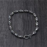 Real Pure 925 Sterling Silver Bracelet Skull Punk Link
