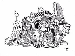 Dessin original sur papier à l'encre de chine - signé - Artiste  FLAVIEN COUCHE