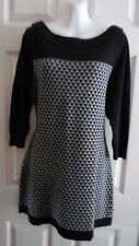 WHITE HOUSE BLACK MARKET SWEATER 3/4 SLEEVE BLACK & GRAY SWEATER DRESS L