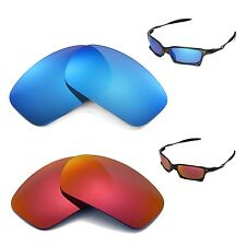New Walleva Polarized Fire Red + Ice Blue Lenses For Oakley X Squared