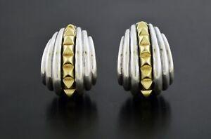 Vintage Lagos Caviar 18k Gold Sterling Silver Studded Omega Back Shrimp Earrings