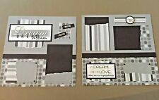 Dream Love Wedding 12x12 Scrapbook Pre-made Handmade Pages - Set of 2