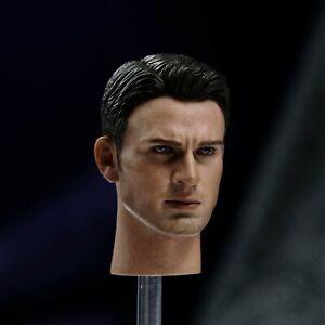 1/6 Steve Rogers Chris Evans Head Sculpt Man Head Fit 12'' Muscle Figure Body