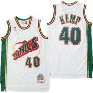 Shawn Kemp Seattle Sonics 40 WHITE NBA Basketball Swingman Jersey shirt