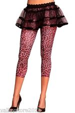1126 Sexy Animal Print Pink Leopard Workout Leggings Nylon Pants Rave One Size