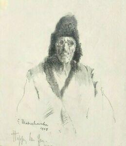 Man in Winter Coat & Hat Ink Drawing-1908- Eleanor Modrakowska-(1879-1955)