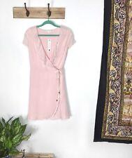 Willow & Clay M dress Pink Ruffle Short-Sleeve Wrap Around Blush NEW