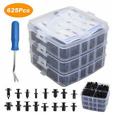 625Pcs Car Retainer Plastic Auto Fasteners Push Trim Clips Pin Rivet Bumper Kit