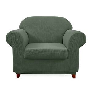 Subrtex 2 piece Armchair Chair Slip Cover-Stretch - Olive Green - Free US Ship