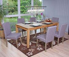 6x chaise de séjour Littau ~ tissu gris, pieds: structure chêne