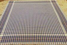 "Vintage Tablecloth Blue White Plaid Checked 100% Cotton 44"" Square NOS"
