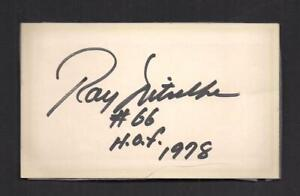 Ray Nitschke Signed 3x5 card-NFL Green Bay Packers-Football Hall of Fame D-1998