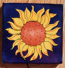 "Talavera Mexican 4"" tile pottery Flower SUNFLOWER Cobalt Blue Yellow Petals"
