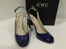 $425 New  C'N'C CoSTUME NATIONAL Blue Patent Leather Slingback Heels. Size 41