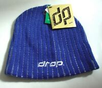 DROP Blue Softec Acrylic Knitted Warm Winter Ski Hat Beanie Adult Size NEW NWT