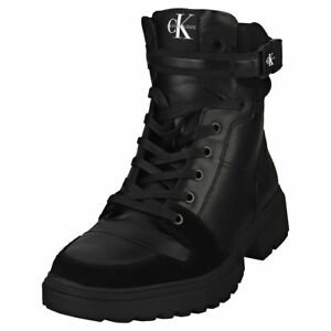 Calvin Klein Chunky Mid Laceup Mens Black Leather & Textile Chukka Boots