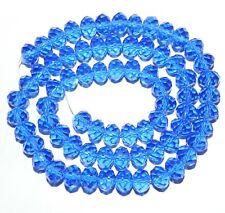 """CR249L2 Dark Sapphire Blue 6mm Rondelle Faceted Cut Crystal Glass Bead 16"""""""