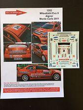 DECALS 1/43 MITSUBISHI LANCER ANDREAS AIGNER RALLYE MONTE CARLO 2011 WRC RALLY
