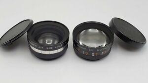 Set of 2 Yashica Electro 35 Camera Lenses Yashikor Aux. Wide & Telephoto F4 Lens
